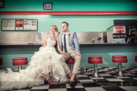 historic Retro diner las vegas wedding photo
