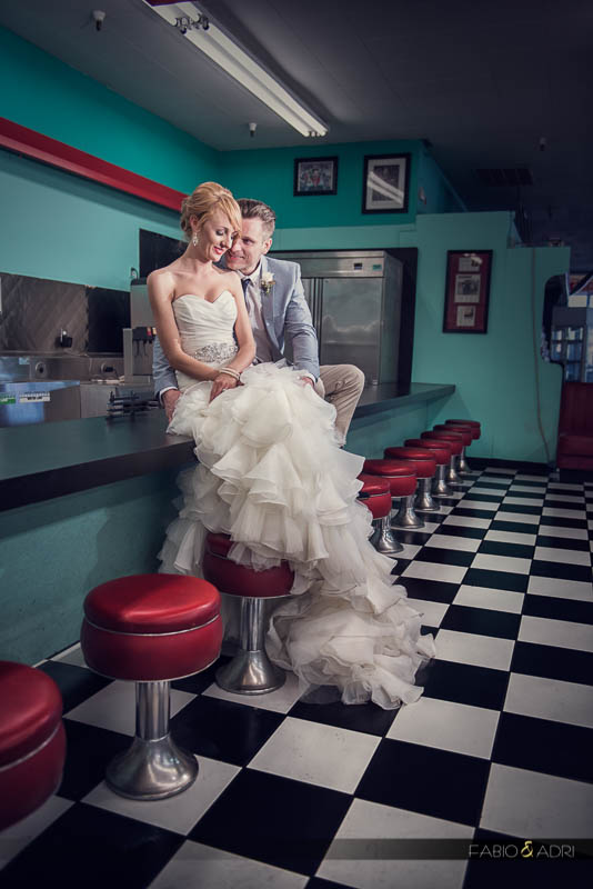 Las Vegas 50s Retro Diner Wedding Photography