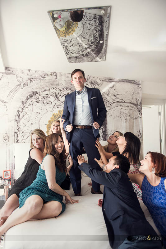SLS Las Vegas Wedding Luxe Suite Playful Groom Photo