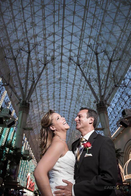 Fremont Street Canopy Wedding Renewal Photo