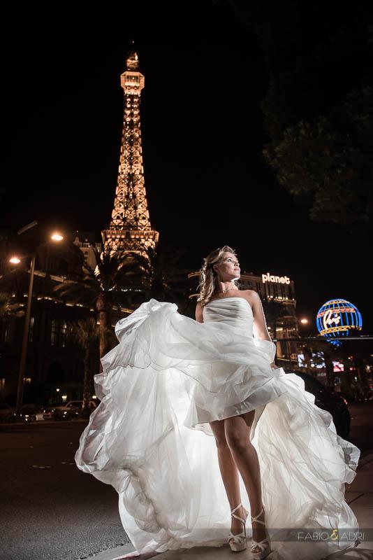 Las Vegas Strip Wedding Sexy Fun Bride Photo by Paris Eiffel Tower