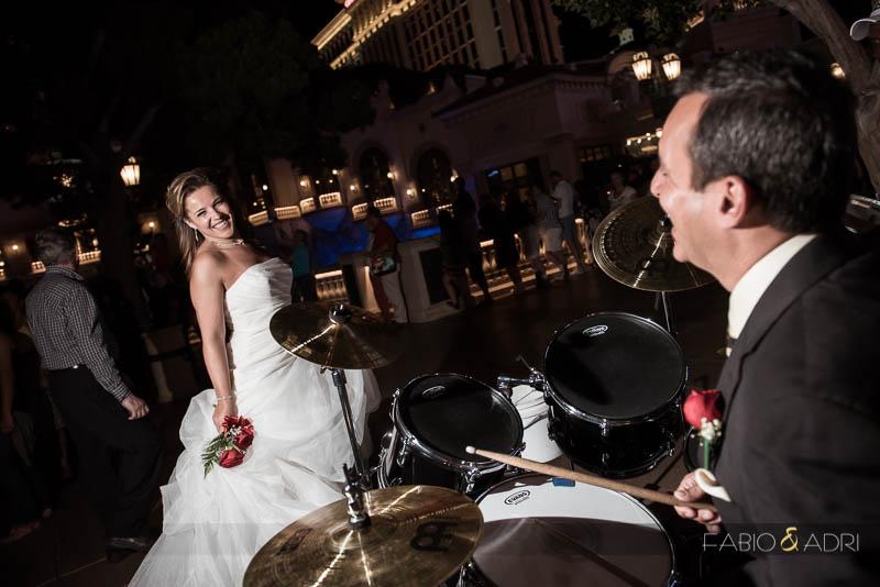 Las Vegas Strip Wedding Vow Renewal Groom Drums