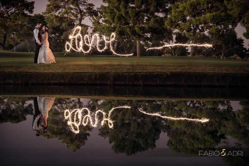 Las Vegas Country Club Wedding Sparkler Night Photo