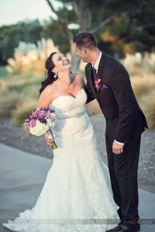 Las Vegas Country Club Wedding Bride Groom Sharing Laugh