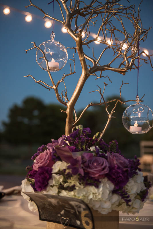 Las Vegas Country Club Wedding Photographer Purple Table Decor