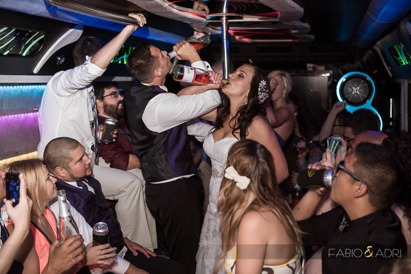 Las Vegas Country Club Wedding Photographer Party Bus