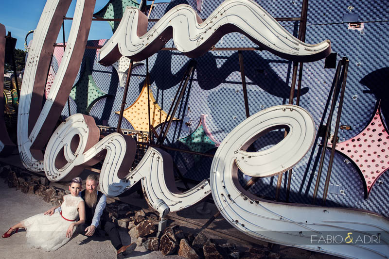 Neon Museum Wedding In Love Sign Las Vegas Photographer