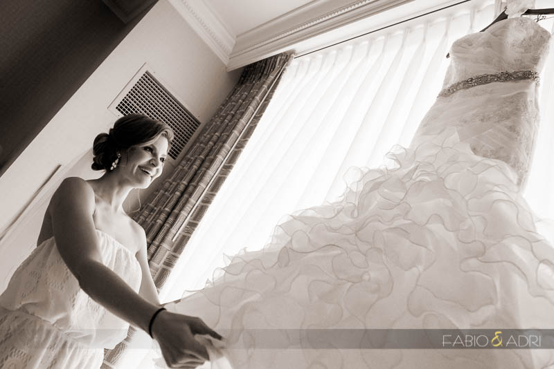 Bride getting ready at MGM Signature Suite