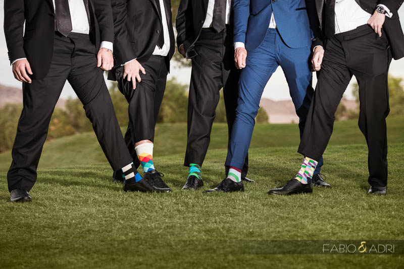 Groom and Groomsmen colorful socks Las Vegas wedding
