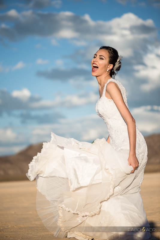 Desert Wedding Photo Bride Having Fun
