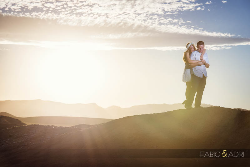 Desert Dry Lake Engagement Sunset