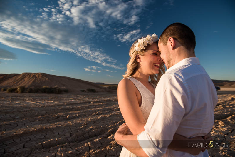 Desert Dry Lake Engagement Photographer Sweet Hug
