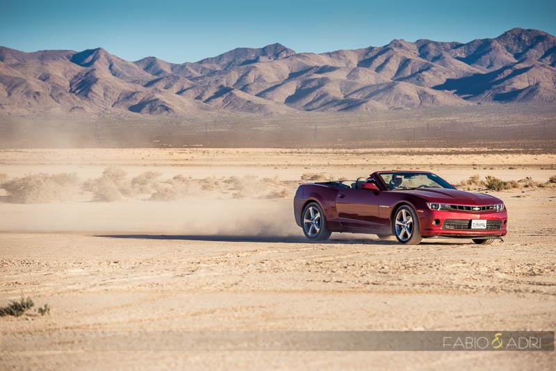 Las Vegas Desert Elopement Red Convertible