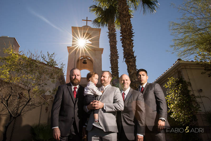 Groom and Groomsmen St. Joseph Church Las Vegas