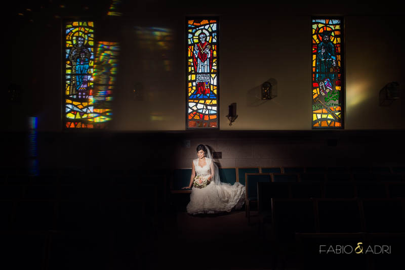 Dramatic Bride Photo at Las Vegas Church with Satined Glass