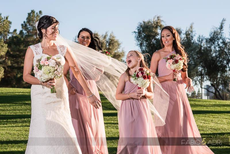 Bride and Bridesmaids at Las Vegas Country Club