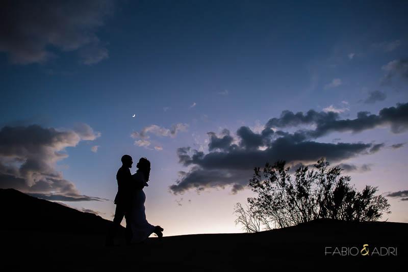 Silhouette Dusk Engagement Photo