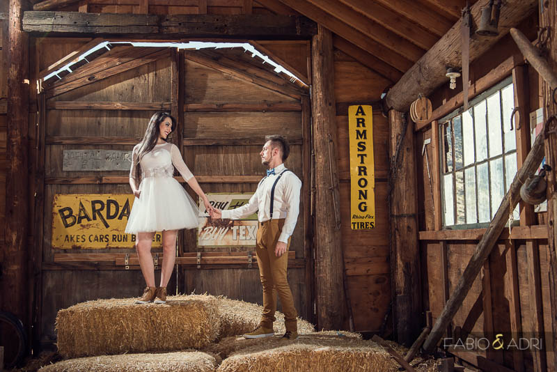 Nevada Ghost Town Barn Straw Bale Wedding Photo