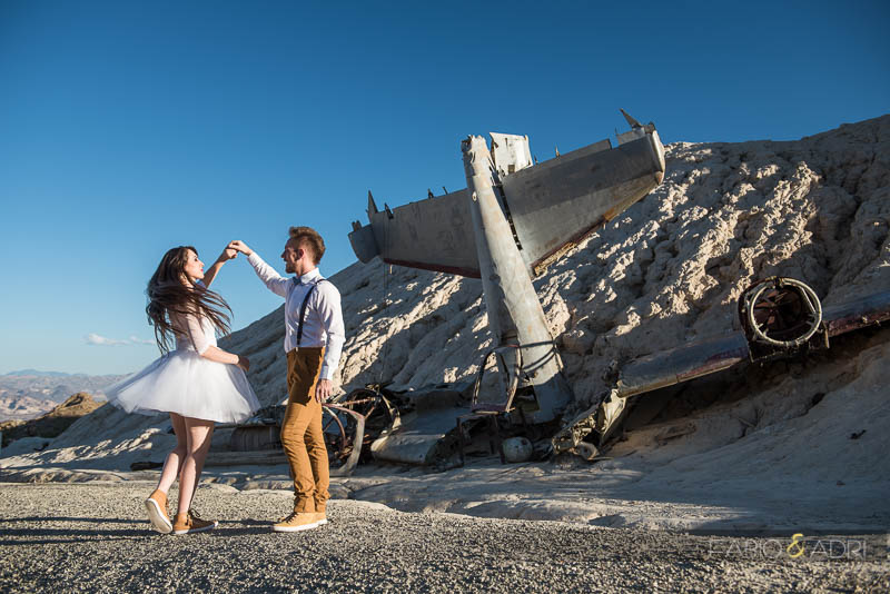 Nelosn Crashed Airplane Wedding Photo