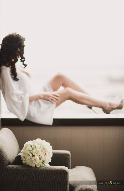 Bride Wearing Robe by Window Vdara Las Vegas