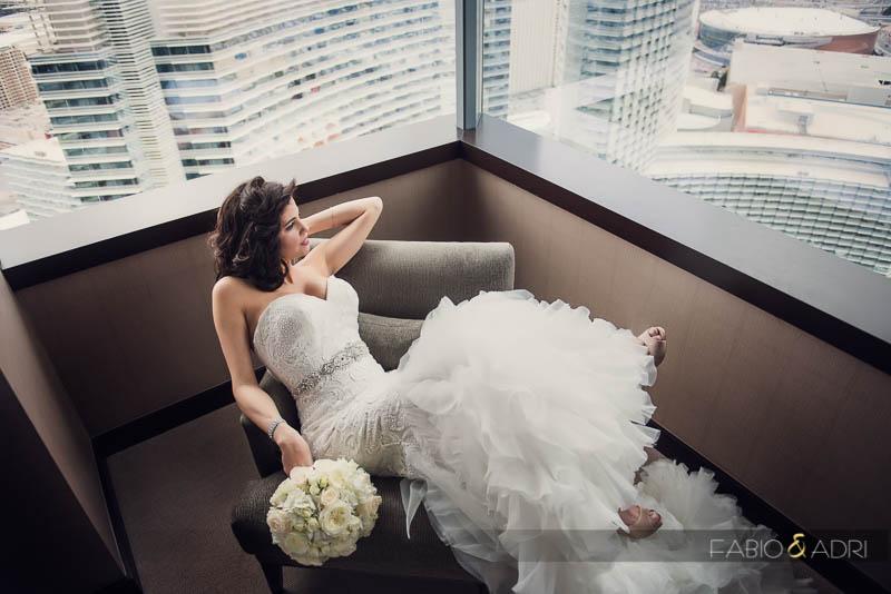 Bride Portrait Cityscape View Las Vegas