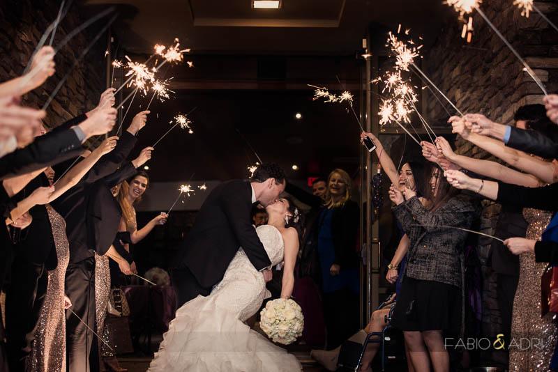 Dragon Ridge Las Vegas Wedding Sparkler Grand Exit Kiss