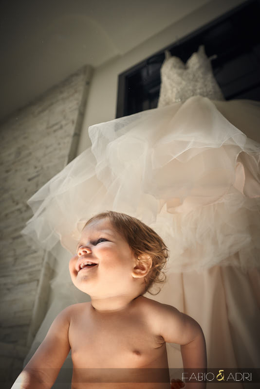 Baby by Wedding Dress