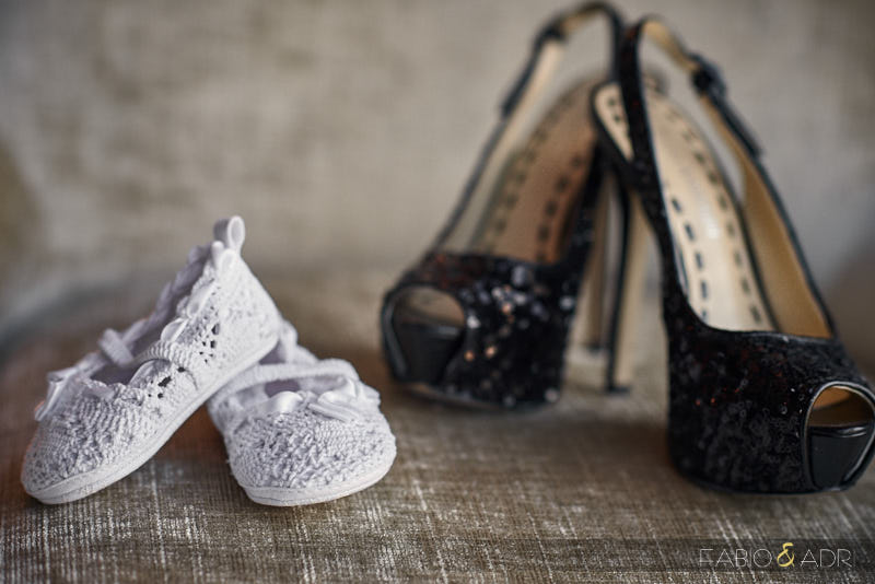 Mom and Baby Daughter Wedding Shoes