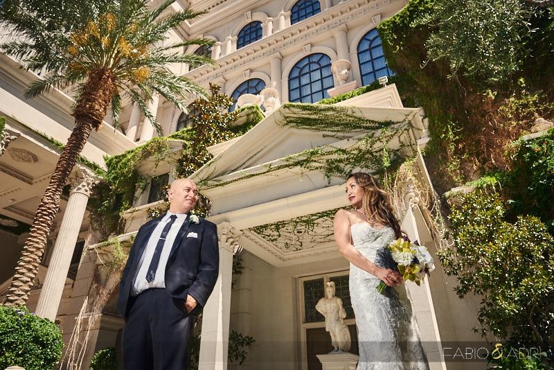 Bride and Groom Caesars Palace Wedding Juno Garden