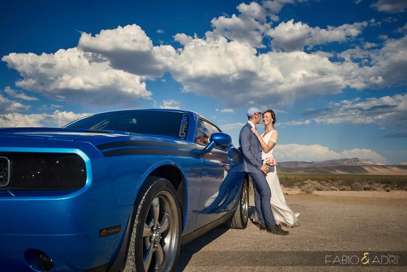 Bride and Groom Vegas desert Blue Charger
