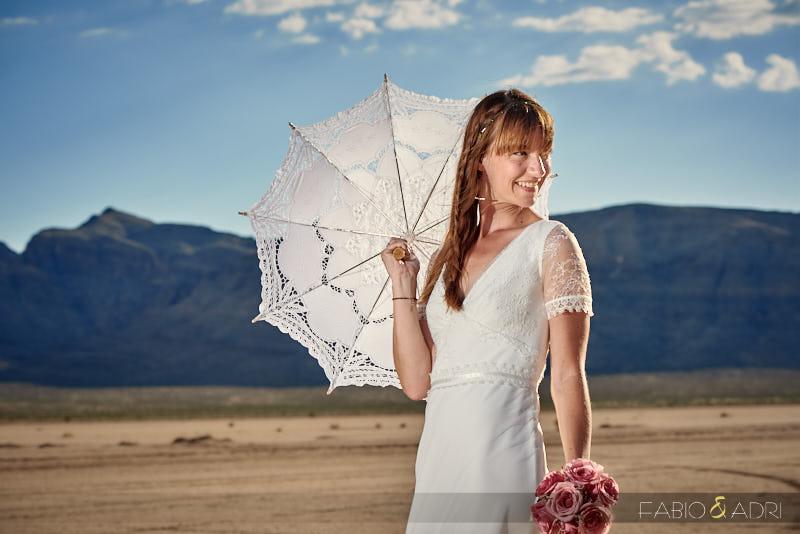 Bride with Lace Parasol at Las Vegas desert