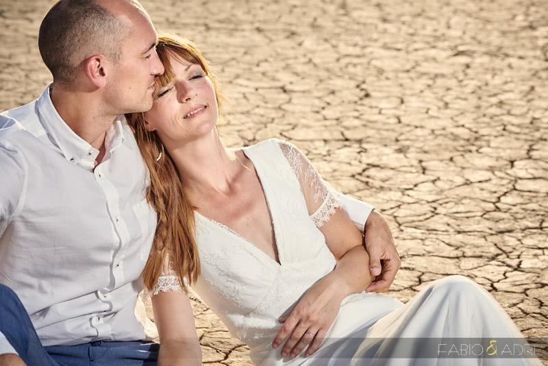 Bride and Groom at Las Vegas Desert Cracked Floor