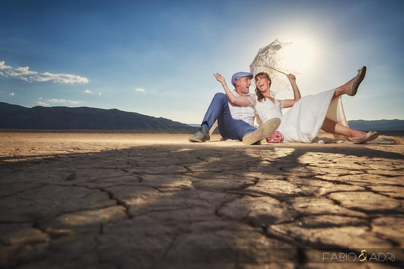 Bride and Groom Having Fun at Las Vegas Desert