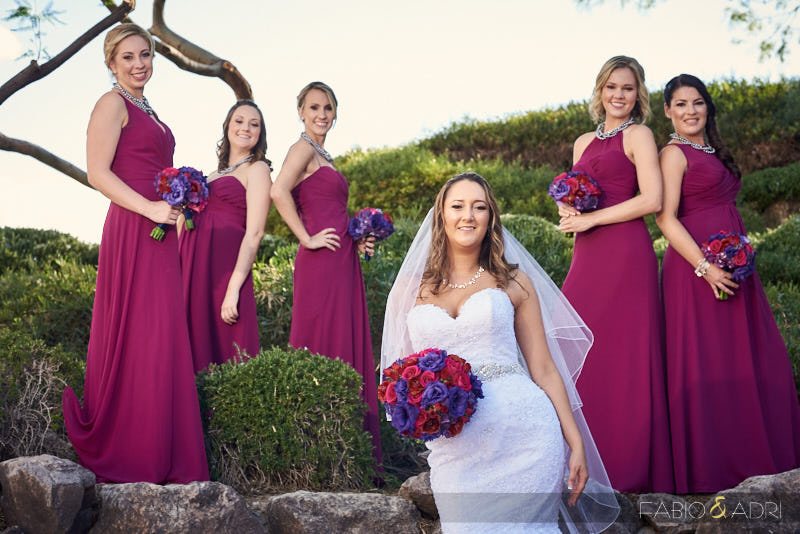 Bride and Bridesmaids Photo Purple and Berry Colors