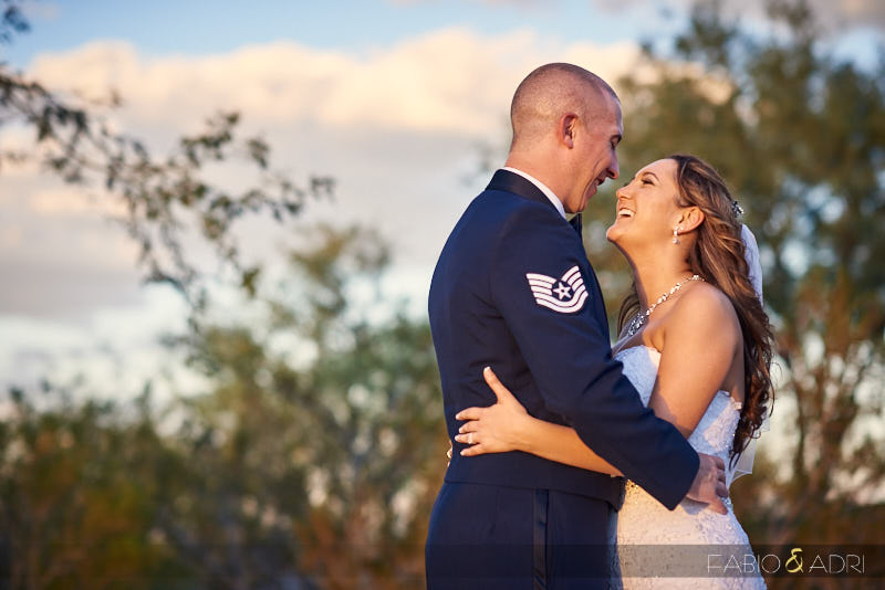 Bride and Groom at Sunset Dragon Ridge