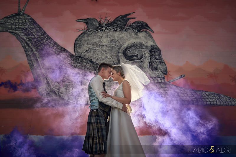 Purple Smoke Flare Wedding Photo Las Vegas
