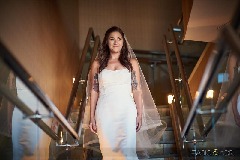 Bride Coming Down Stairs Palms Sky Villas
