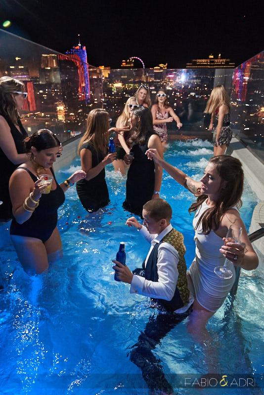 Palms Sky Villa Wedding Pool Jump