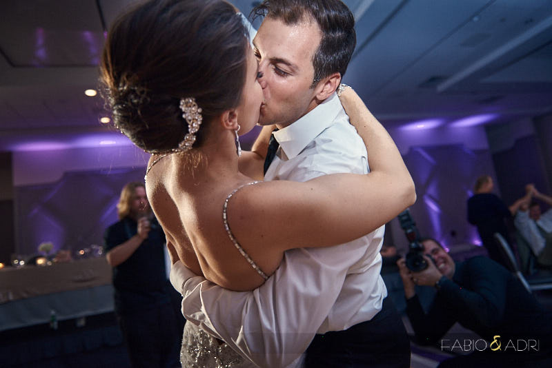 Bride and Groom Kissing SLS Las Vegas Reception
