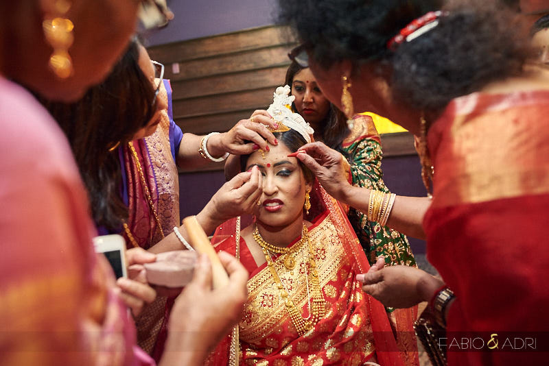 Bengali Bride getting ready for ceremony