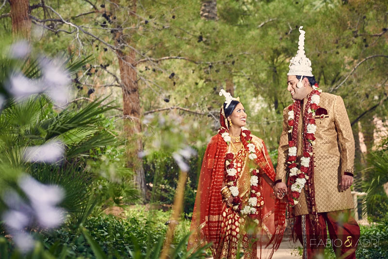 South Asian Bride and Groom at JW Marriott Gardens