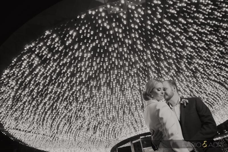 Wedding Photo Plaza Las Vegas Lights