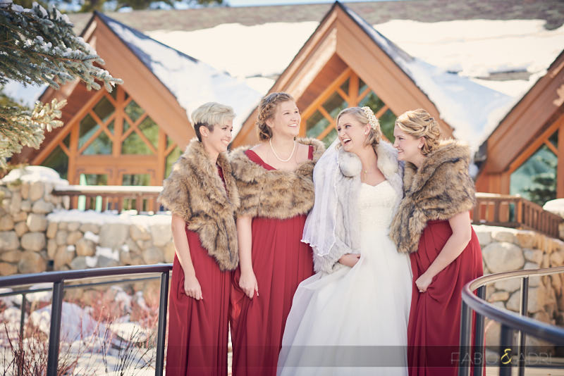 Bride and Bridesmaids Edgewood Tahoe Wedding