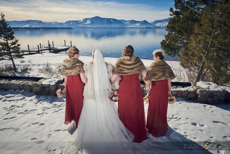 Bride and Bridesmaids Winter Wedding Fur Coat  Lake View Tahoe