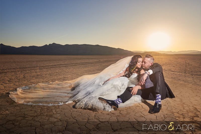 Desert Sunset Post Wedding Photos Las Vegas