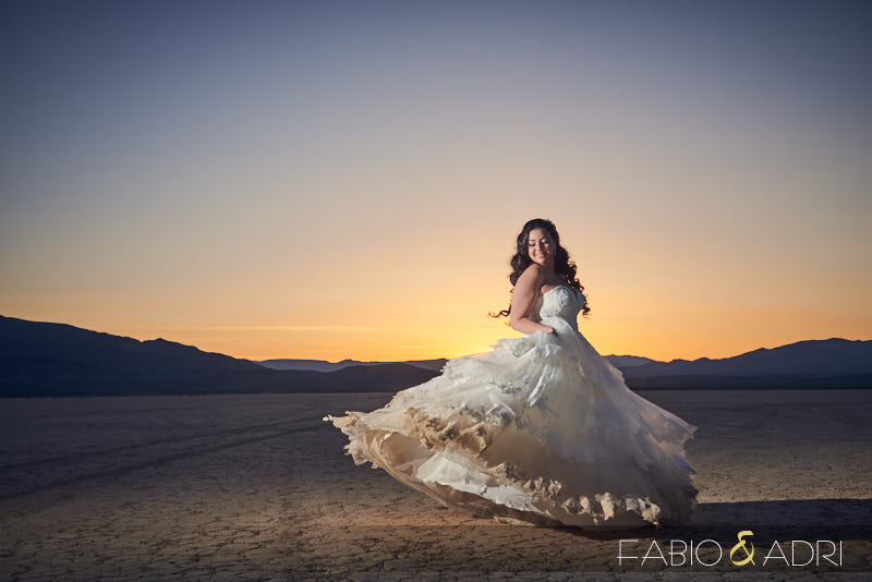 Bride Dancing Las Vegas Desert Sunset