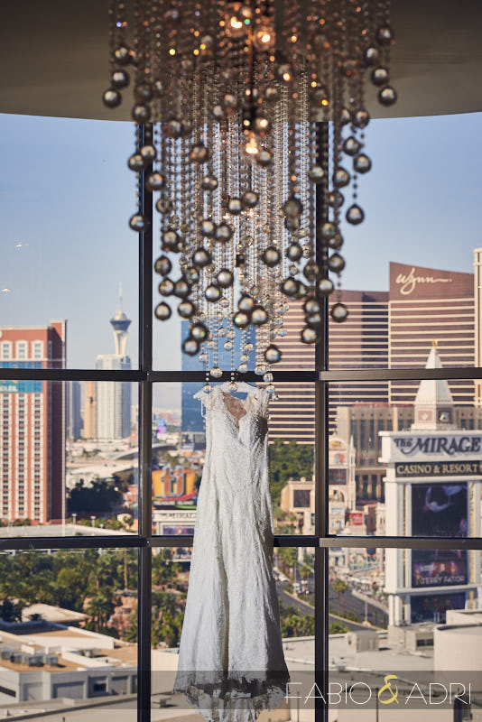 Hanging Bridal Dress Las Vegas Strip View