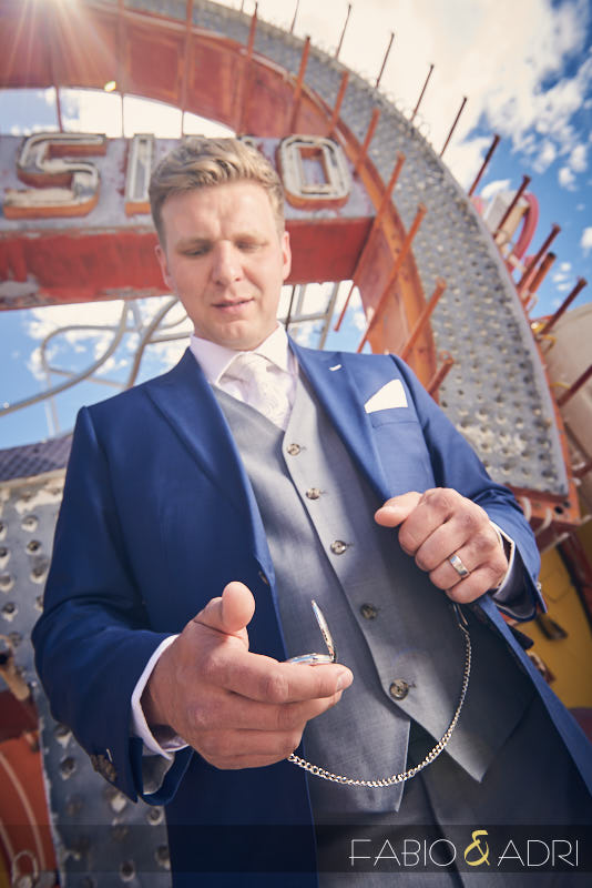 Groom with Blue Suit Gray Vest and Pocket Watch