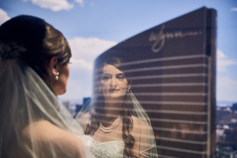 Bride Reflection Wynn Las Vegas