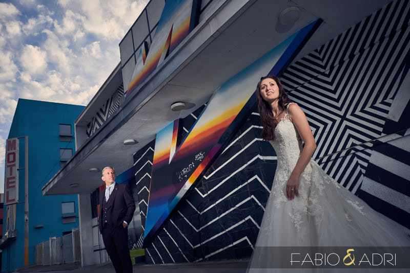 Downtown Las Vegas Wedding Photos Colorful Mural